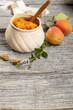 jar with apricot jam