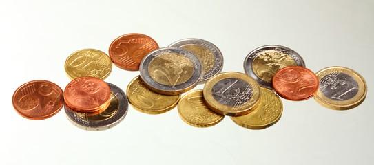 european currency euro coins money on white