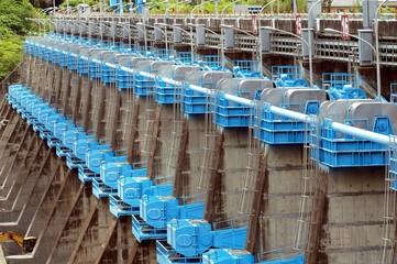 Row of Sluice Gates at a Reservoir