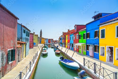 Venice landmark, Burano island canal, houses and boats, Italy - 54520448