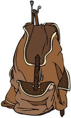 Brown Leather Backpack Hanging on Metal Hook Vector Illustration