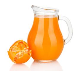 Full jug of tangerine juice, isolated on white