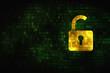 Information concept: Opened Padlock on digital background