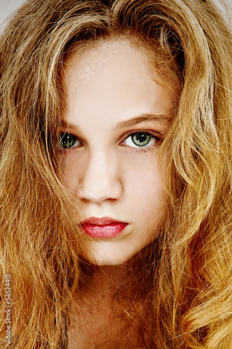 Beautiful Dramatic Portrait of Young Teen Girl