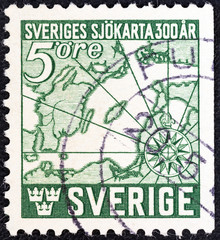 First Swedish navigators' chart (Sweden 1944)
