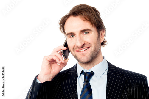 Smiling boss communicating with client