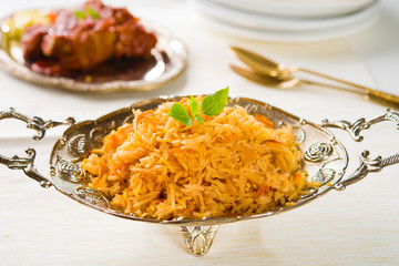 Biryani chicken rice with traditional india food