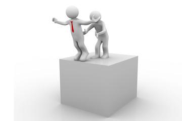 Push a businessman. Make him fall down