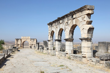 The Arch of Caracalla at Volubilis, Morocco, North Africa