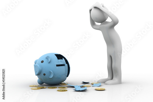 Broken piggybank with dollar. Depressed business man