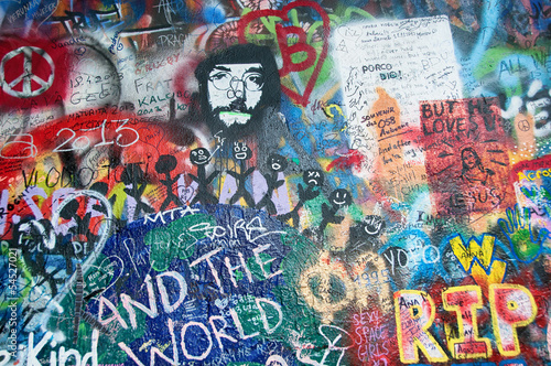Colorful John Lennon wall in Prague