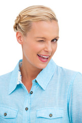 Blonde woman winking