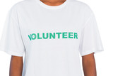 Woman wearing volunteer tshirt