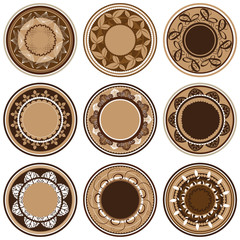 Plates with different vegetation patterns, circle ornament, vect