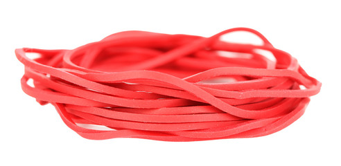 Red rubber bands isolated on white