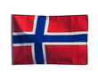 Norwegian flag in wind on a white background