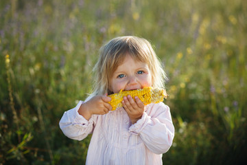 Child, corn - lovely girl eating corn on the cob in the garden