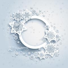 Christmas frame on snow background