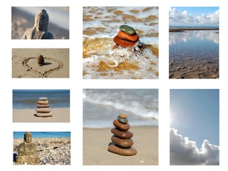 Steinturm am Strand Collage