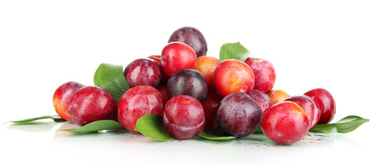 Ripe plums isolated on white