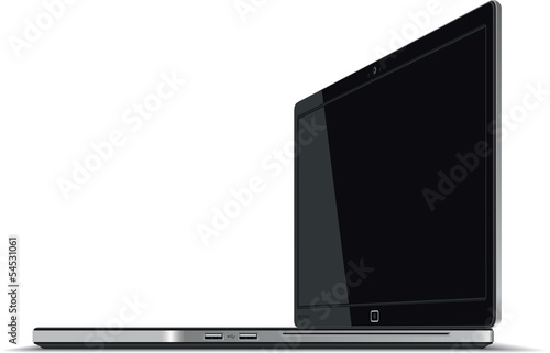 Laptop Right Side Horizontal View - Vector illustration