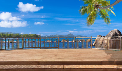 terrasse sur paysage des Seychelles