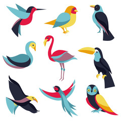Vector set of logo design elements - birds signs