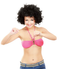 woman in bikini with afro wig, isolated on white background