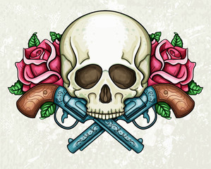 Skull, crossed guns and roses