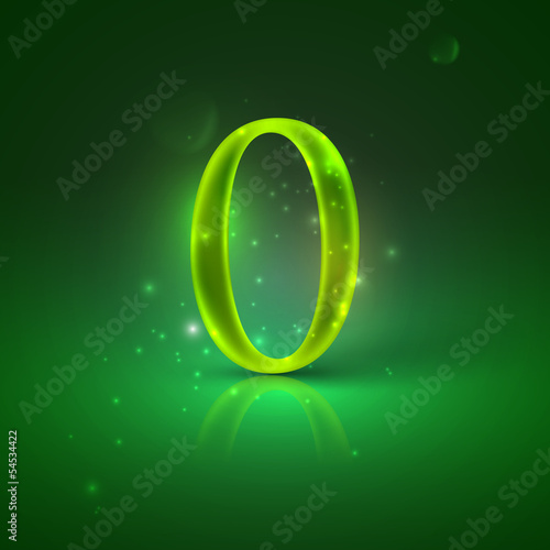 0. Green glowing number zero