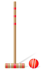 croquet mallet and ball vector illustration