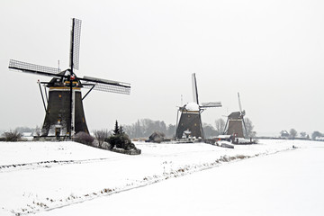 Historical windmills in the countryside from the Netherlands