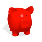 Piggy bank -  red pig on white background