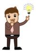 Idea Bulb Lit - Business Cartoon Character Vector