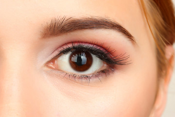 female eye with beautiful make-up