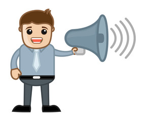 Man Announcing - Business Cartoon Character Vector