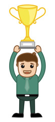 Man with Trophy - Business Cartoon Character Vector
