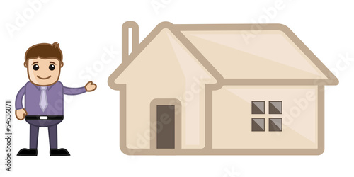 Real Estate Concept - Home - Business Cartoon Character Vector