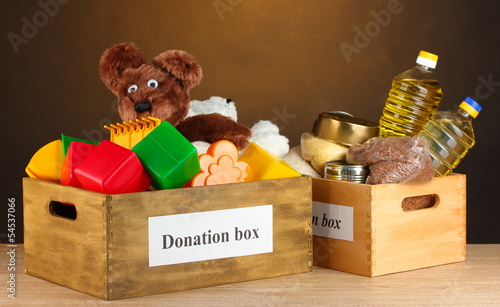 Donation box with food and children's toys