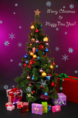 Decorated Christmas tree with gifts on purple background