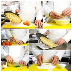 Chef hands photo collage