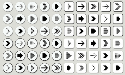 set of black-white arrow