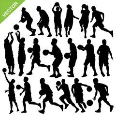 Men play basketball silhouettes vector