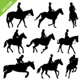 Horse riding silhouettes vector