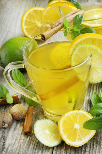 Lemonade with lime,mint and cinnamon