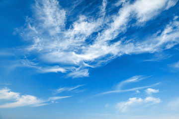 Natural blue cloudy sky background texture