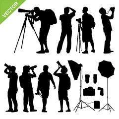 Photographer silhouettes vector