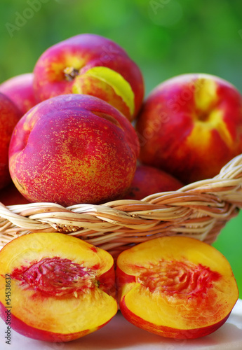 Slices of ripe peaches