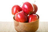 Red Apples in Wood Bowl on White Background