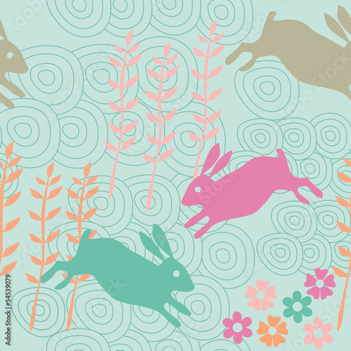 Cotton fabric Rabbit seamless texture, endless vector illustration